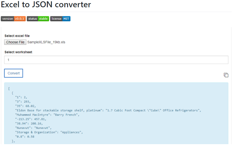 Convert excel data to JSON using JavaScript